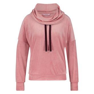 Velours Turtle Neck langærmet pyjamastop, pink