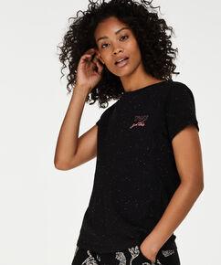 Kortærmet pyjamastop, sort