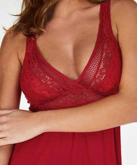Graphic Lace natkjole, rød