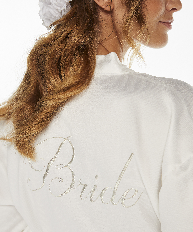 Satin kimono Bridal, hvid, main