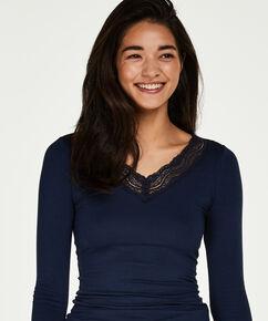 Top v-neck lace, blå