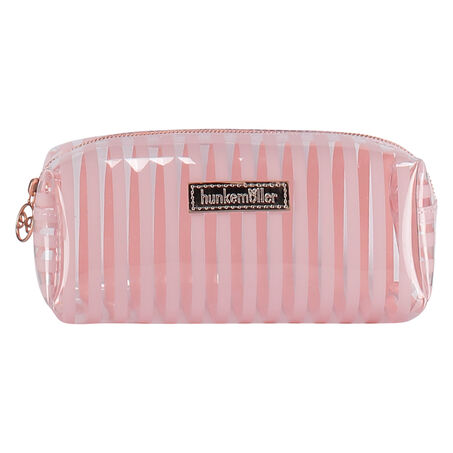 Makeuptaske Stripe af plast, pink