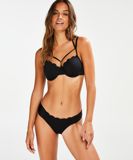 Scallop Glam formstøbt bøjle-bikinitop, sort
