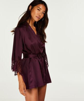 Lace Satin kimono Indra Petite, lilla