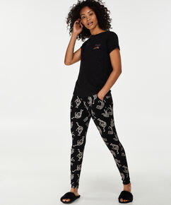 Loose fit pyjamasbukser, sort