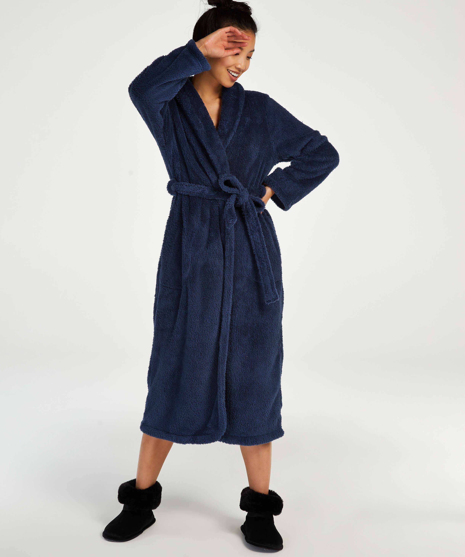 Fleece lang badekåbe, blå, main