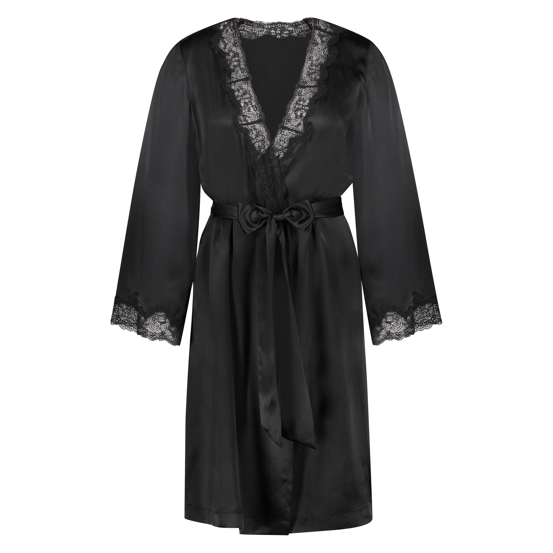 Kimono med silkeblonder, sort, main