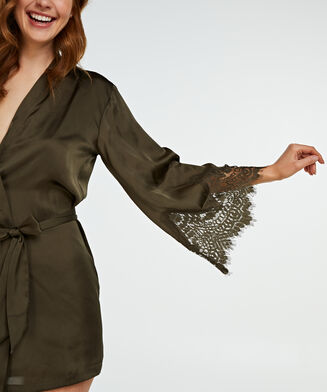 Lace Satin kimono, grøn