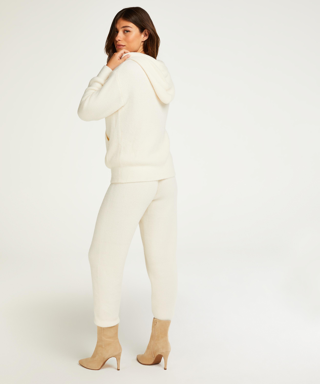 Premium Hættetrøje med lange ærmer Fluffy, hvid, main