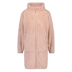 Fleece badekåbe med lynlås, pink