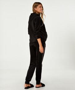 Velourhættetrøje til gravide, sort