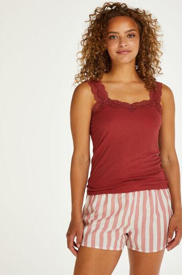 Hunkemöller Pyjamasshorts med chambray-striber pink