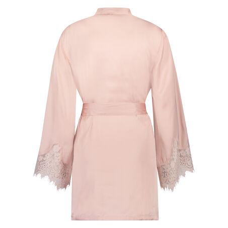 Lace Satin kimono, pink