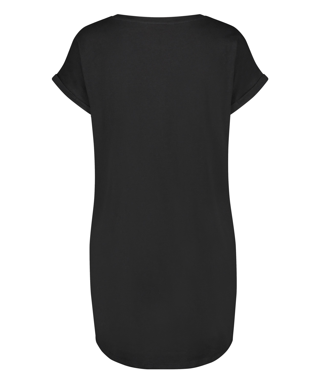 Nat-T-shirt med rund hals, sort, main