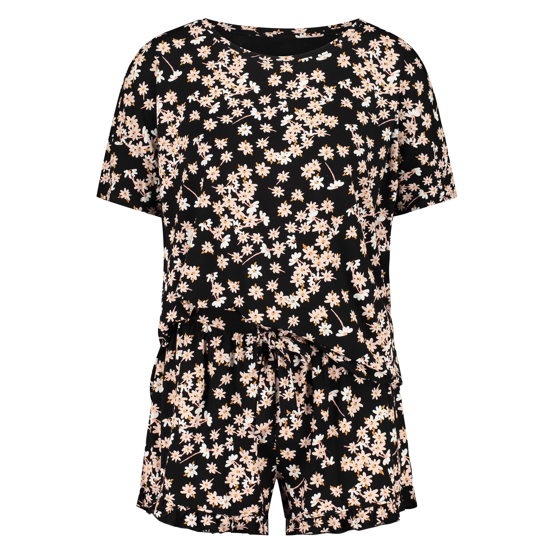 Kort pyjamassæt, sort, main