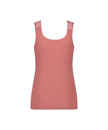 Singlet Rib Lace, pink