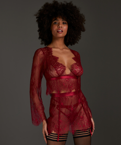 Top Allover Lace, rød