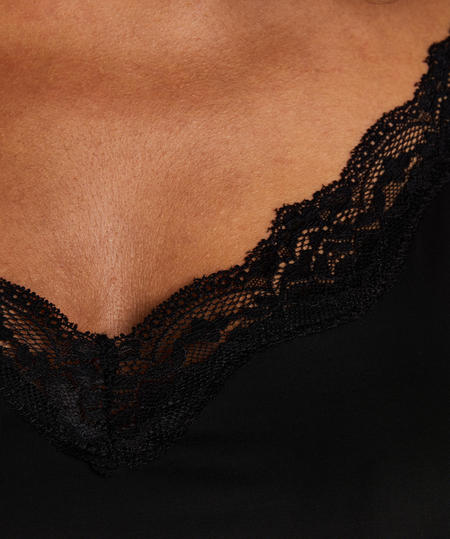 Udglattende underkjole med blonder - Level 1, sort, main
