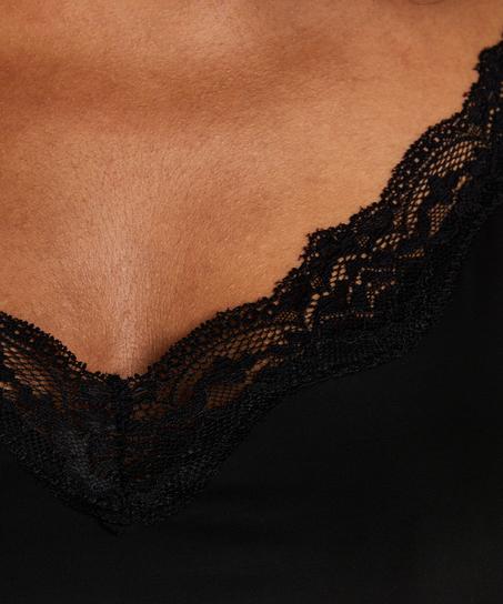 Udglattende underkjole med blonder - Level 1, sort