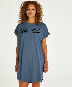Natskjorte rund hals, blå
