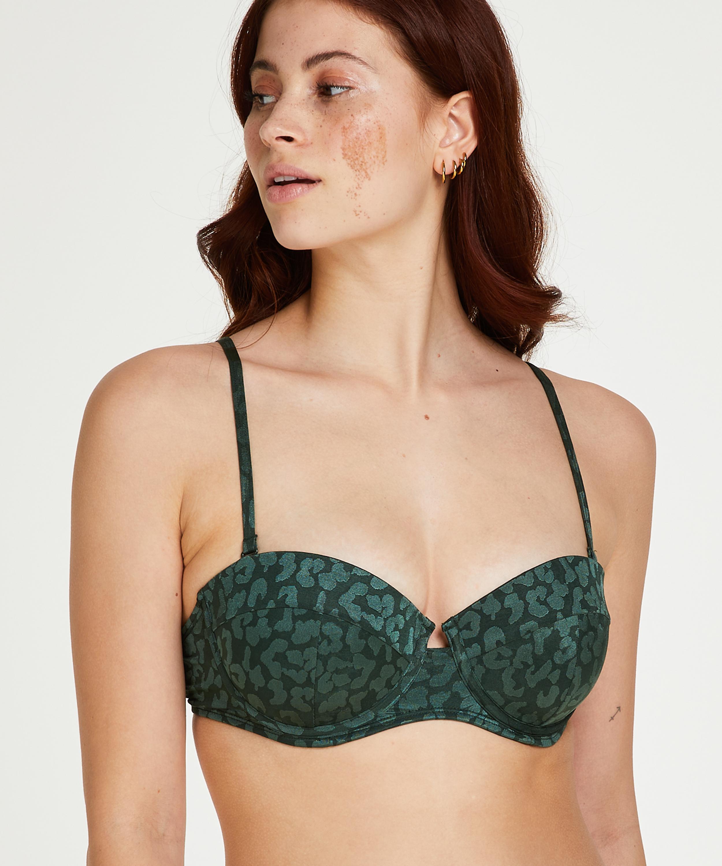 Tonal Leo formstøbt push-up bøjle-bikinitop Størrelse A - E, grøn, main