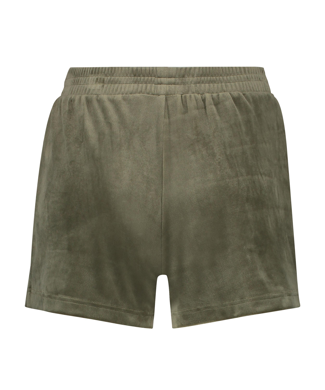 Fløjlsshorts med lomme, grøn, main
