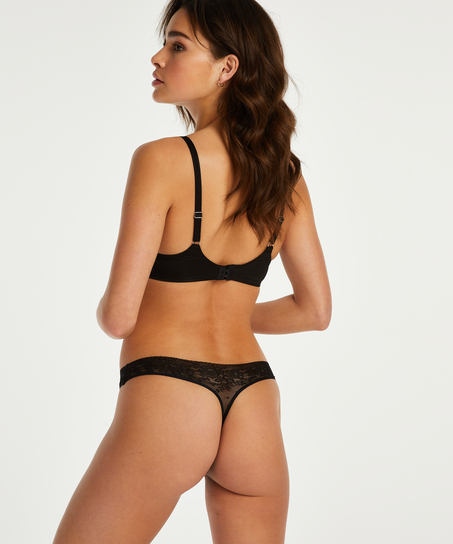 Invisible g-streng Allover Lace, sort