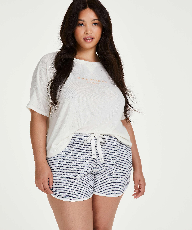 Pyjamastop korte ærmer Brushed Jersey, hvid, main