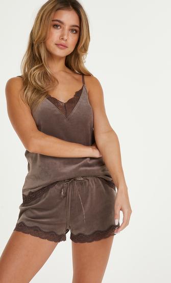 Shorts velour Lace, Brown
