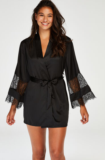 Hunkemöller Kimono satin lace sort
