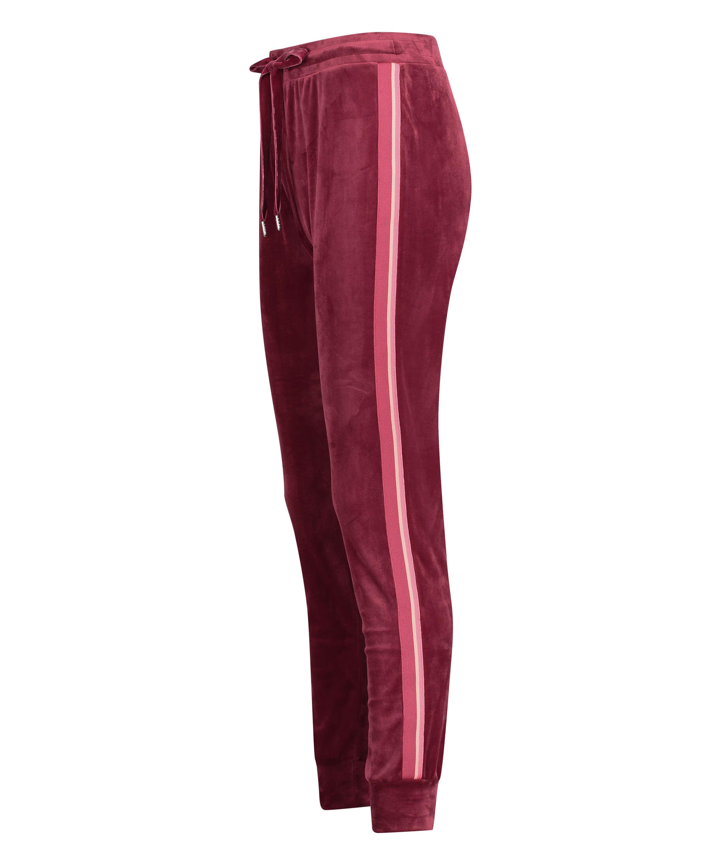 Velours Stripe joggingbukser, rød, main