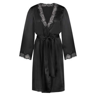 Kimono med silkeblonder, sort