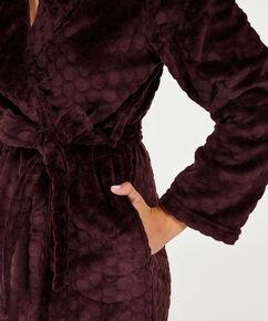 Fleece lang badekåbe, rød