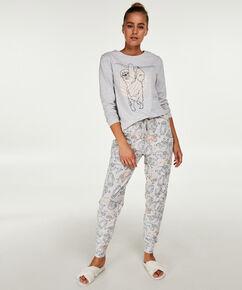 Jersey langærmet pyjamastop, Grå