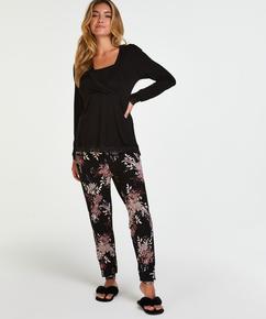 Pyjamassæt til amning , sort