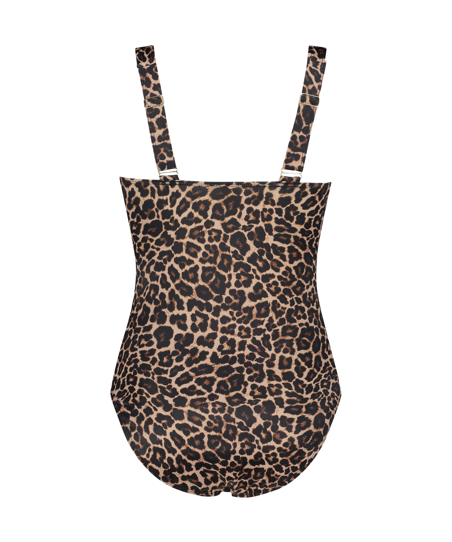 Leopard badedragt, Beige, main