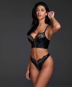 Talia formstøbt longline push-up-bøjle-bh, sort