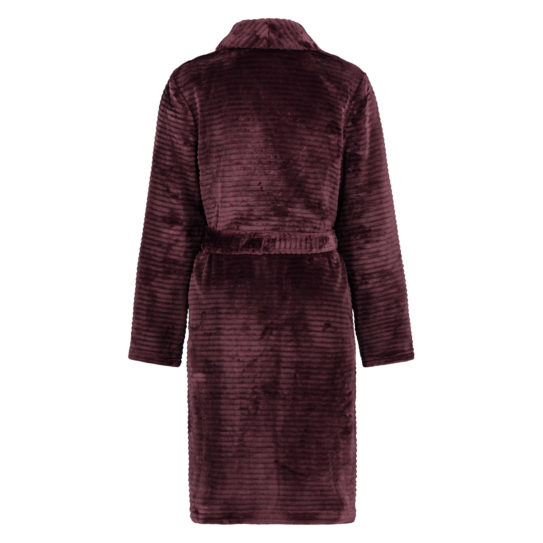 Kort ribstrikket badekåbe i fleece, rød, main