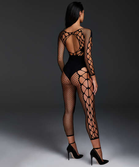 Private catsuit fishnet Chasity, sort