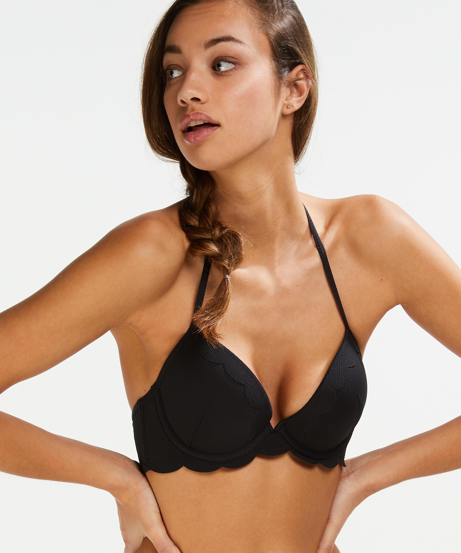 Formstøbt push-up bøjle-bikinitop Scallop Størrelse A - E, sort, main