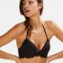 Formstøbt push-up bøjle-bikinitop Scallop Størrelse A - E, sort