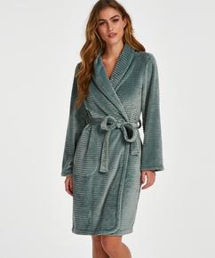 Kort ribstrikket badekåbe i fleece, grøn