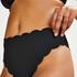 Høj highleg bikinitrusse Scallop Glam, sort