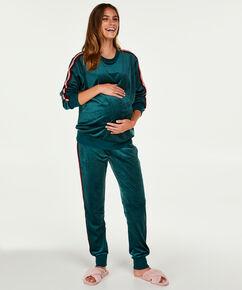 Velours top til gravide, grøn