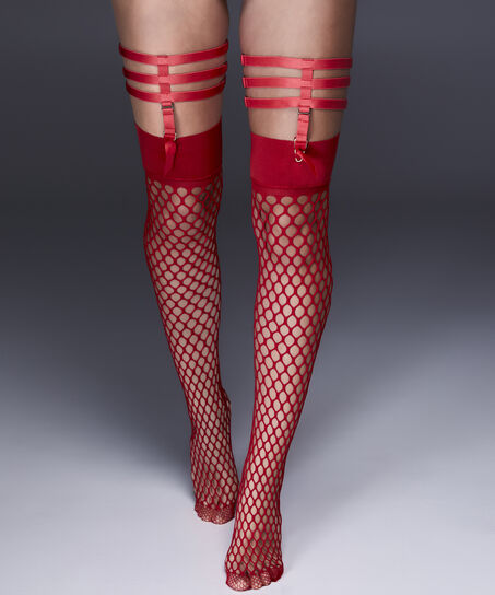 Selvsiddende Strømper Fisnet Private Big Sexy, rød
