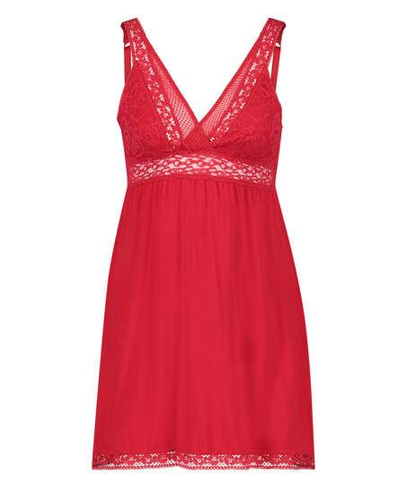 Natkjole Jersey Grafic Lace, rød