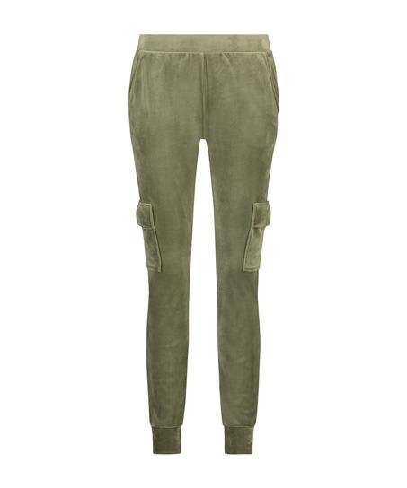 Velours joggingbukser Cargo, grøn