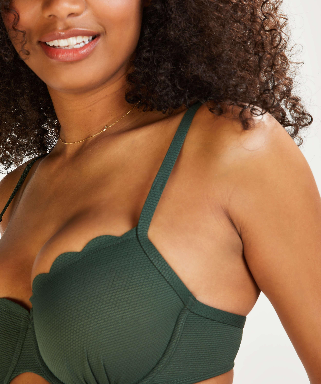 Scallop Glam formstøbt bøjle-bikinitop, grøn, main