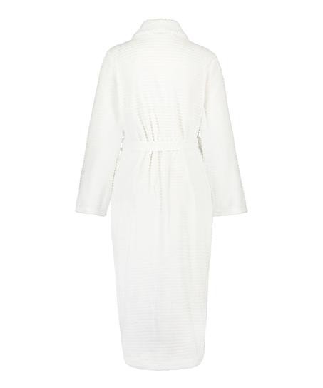 Lang ribstrikket badekåbe i fleece, hvid