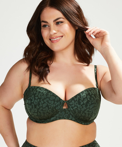 Formstøbt bøjle-bikinitop Tonal Leo Størrelse E +, grøn